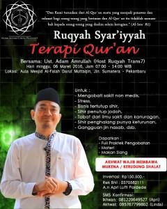Jadwal Ruqyah Pekanbaru Maret 2016